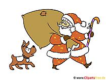 Weihnachtskarte basteln mit Nikolaus-Vorlage