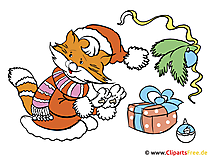 Weihnachtskarte mit Katze