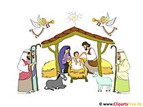 Weihnachtskrippe Bild-Illustration