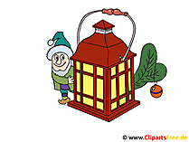 Noel Clipart Gnome ve fener