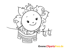 Friendly sun clipart black and white