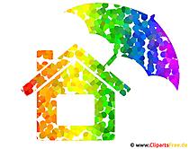 Regenbogen Haus Bild - Clipart