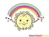 Regenbogen und Sonne Comic, Cartoon, Bild, Clipart, Grafik gratis
