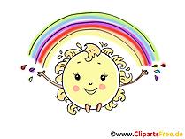 Regenbogen und Sonne Comic, Cartoon, Bild, Clipart, Grafik gratis