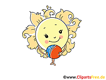Sonne als Cartooncharakter, Cartoonfigur Bild, Clipart, Cartoon gratis