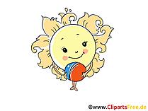 Sonne als Cartooncharakter, Cartoonfigur Bild, Clipart, Cartoon gratis