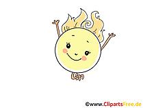Sonne freut sich ueber Fruehling Bild, Illustration, Cartoon, Clipart, Pic gratis
