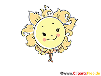 Sonne im Sommer Bild, Illustration, Cartoon, Clipart, Pic gratis
