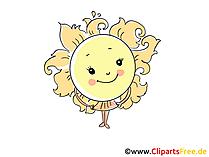Sonne im Sommer Bild, Illustration, Cartoon, Clipart, Pic gratis