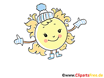 Sonne im Winter Bild, Illustration, Cartoon, Clipart, Pic gratis