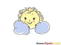 Sonne mit Regenwolken Bild, Illustration, Cartoon, Clipart, Pic gratis