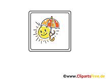 Sonne mmit Regenschirm  Wetter Icon, Bild, Clipart, Grafik