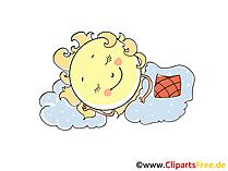 Sonne schlaeft, Abend, Nacht Clipart, Comic, Cartoon, Bild, Grafik gratis