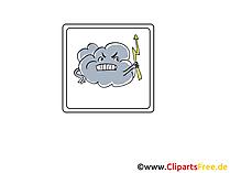 Unwetter, Donnerwetter, Regen und Blitz  Icon, Bild, Clipart, Grafik