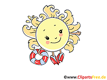 Urlaub in der Sonne am Meerkueste Cartoon, Clipart, Bild, Grafik, Comic