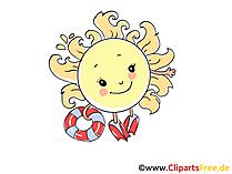 Urlaub in der Sonne am Meerkueste Cartoon, Clipart, Bild, Grafik, Comic