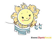 Waesche in Sonne trocknen lassen Bild, Illustration, Cartoon, Clipart, Pic gratis