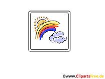 Wetter  Icon, Bild, Clipart, Grafik - Sonne, Regenbogen und Wolke
