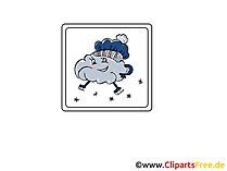 Wetter Icon Schnee und Wolken