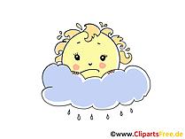 Wolkig und regnerisch Bild, Wetter Illustration, Cartoon, Clipart, Pic gratis
