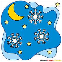 Clip Art Weihnachten - Schneeflocke im Nachtshimmel
