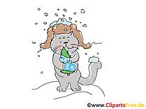Kater mit Tanne im WInter Cartoon, Clipart, Bild, Illustration