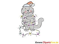 Katze mit Lichterkette Cartoon, Clipart, Bild, Illustration