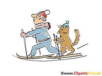 Mann und Kater fahren Ski im Winter Cartoon, Clipart, Bild, Illustration