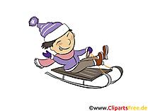 Rodeln im Winter Clipart, Bild, Illustration