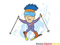 Ski fahren im Urlaub in den Bergen Clipart, Bild, Comic