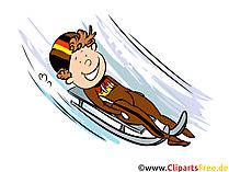 Wintersport Cliparts, Bilder Rennrodeln